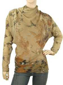 Jean-Paul Gaultier Sheer Print Floral Fall Top Brown, Olive