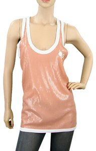 Jean-Paul Gaultier Mesh Sequin Sleeveless Logo Sheer Racer-back Sporty Top Pink, White