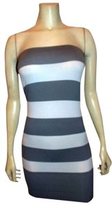 Active Basic short dress Black and White Tube Top Mini Striped on Tradesy