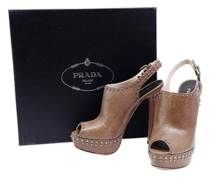 Prada Leather Slingback Ankle Platforms Brown Boots