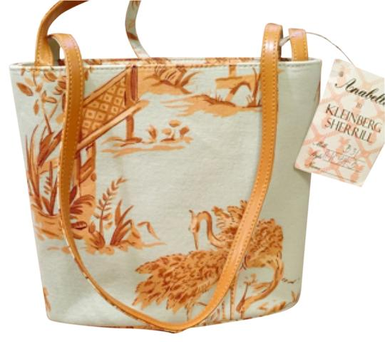 Preload https://img-static.tradesy.com/item/11047582/toile-themed-light-blue-and-amber-canvas-leather-tote-0-1-540-540.jpg
