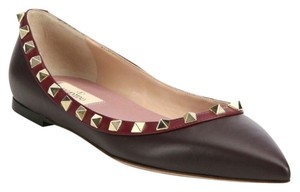Valentino Rockstud Stud Colorblock Leather Studded Dark Red Flats