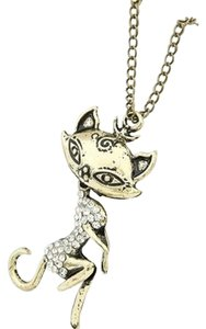 Other Europe Retro Style Rhinestone Sex Cat Girl Pendant Sweater Necklace
