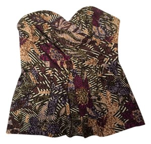 Anthropologie Strapless Print Top Floral Pattern