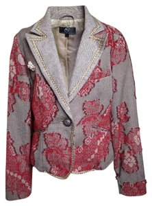 True Meaning Wool Herringbone Gold Wool Roses Pink And Gold Trim Red Blazer