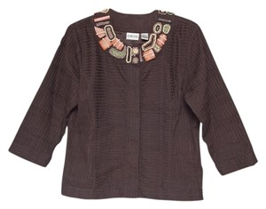 Chico's Beading Top Stitching Brown Jacket