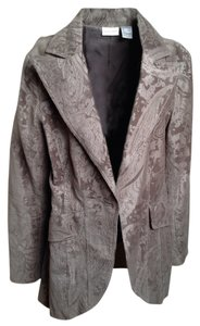 Newport News Burnt Velvet Damask Vintage Gray Blazer