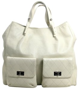 Chanel White Leather New Tote in Ivory