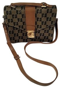 Other Crossbody Checkered Waxed Canvas Studded Signature Brown & Black Messenger Bag