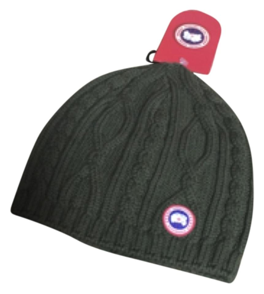 4d7046a8a21 Canada Goose Military Green Merino Wool Cable Knit Ladies Beanie Hat ...