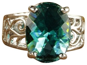 Other Size 7, Green Topaz Gemstones Silver Ring