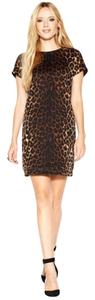 Bar III Made In Usa Crew Neckline Print Shift Silhouette Unlined Dress