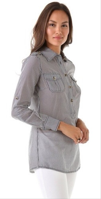Tory Burch Button Down Blouse Collar Ella Preppy Classy Ralph Lauren Detail Hardware Pin Ticking Lilly Pulitzer Theory Joie Tunic