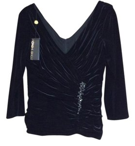 Tadashi Shoji Jeweled Velvet Gathered Top Black
