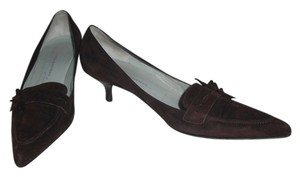 Sigerson Morrison Suede Leather Pointy Toe Kitten Heels Chocolate Brown Pumps