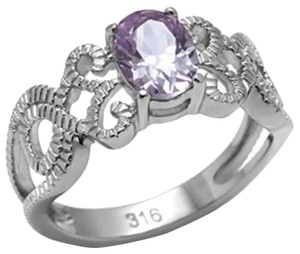 New Size 9, Stainless Steel Light Amethyst CZ Intertwined Band Ring