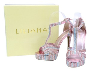 Liliana Sparkle Mulitcolor Ankle Strap Rainbow Platforms