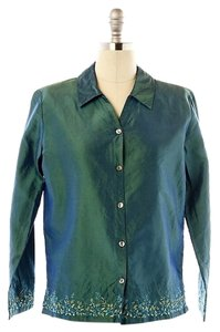 Garnet Hill Embroidered Green Button Down Shirt Iridescent