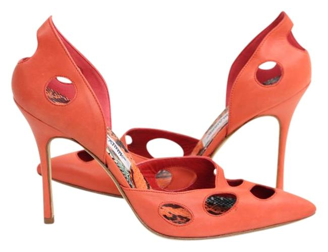 Item - Coral Leather Snake Cutout High Heels Pumps Size US 6.5 Narrow (Aa, N)