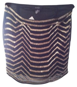 ANGL Mini Skirt Black & Gold