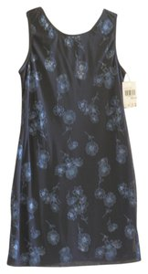 City Triangles short dress Black w/Blue Sparkle Flowers on Tradesy