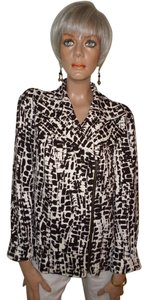 Chico's Brown/Ivory Abstract Print Jacket