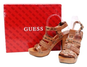 Guess Leather Platform Studs Caged Brown Boots