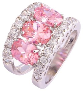 Other New Size 9, 4.4 CT Rhodium Plated Pink CZ Ring