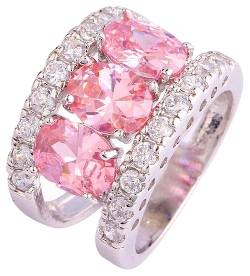 Pink Silver New Size 9 4.4 Ct Rhodium Plated Cz Ring - Tradesy
