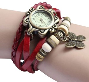 Other Red Leather Butterfly Charm Bronze Bracelet Watch Free Shipping
