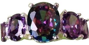 New Size 8, STERLING SILVER MYSTIC RAINBOW TOPAZ AMETHYST RING