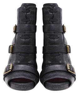 Juicy Couture Leather Gold Buckles Ankle Peep Toe Black Boots