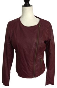 Pins and Needles Berry Leather Jacket