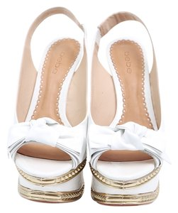 bebe Slingback Patent Leather White/Gold Platforms