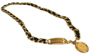 Chanel Chanel Black Leather And Gold Medallion ID Chain Link Necklace Waist Belt