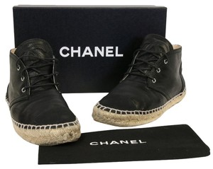 Chanel Espadrille Ballet Flats Ballerina Quilted Leather Lambskin Caviar Grained Cap Toe High Heels Chic Runway Fashion Cambon Black Boots