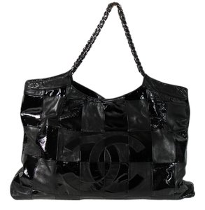Chanel Brooklyn Cabas Patchwork Patent Tote Satchel in Black