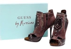 Guess By Marciano Bt Ankle Platform Peep Toe Studs Brown Boots