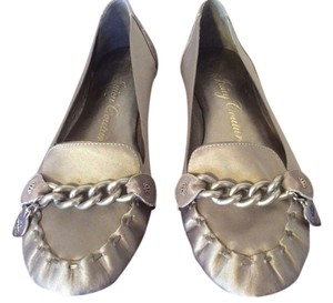 Juicy Couture Chain Link Leather Metallic Satin Pewter Flats