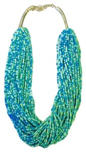 Beaded multi strand Statement Necklace in Light Blue