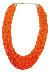 Beaded Statement Necklace in Orange