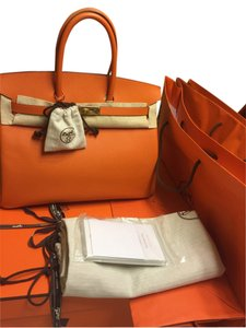 Hermès Clochette Key & Padlock Dust Box Tote in H Orange