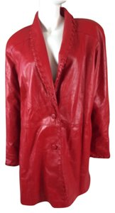 Givenchy Leather Long Coat Red Leather Jacket