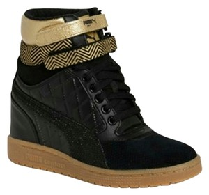 Puma Wedge Sneakers Black and Gold Wedges