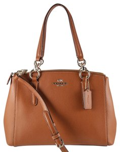 Coach Saffiano Leather Satchel in Saddle Brown