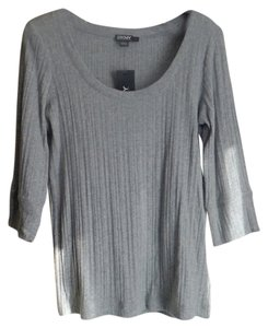 Donna Karan Dkny Scoop Neck Ribbed T Shirt Heather Gray
