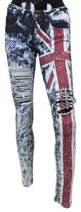 Union Jack Denim Destroyed Skinny Jeans-Acid