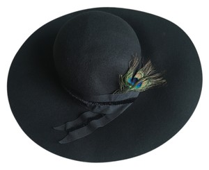 Cynthia Rowley CYNTHIA ROWLEY black 100% wool floppy Fall hat peacock feather
