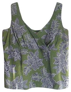 Talbots Summer Wood Block Floral V-neck Sleeveless Top Green and Blue