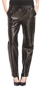 J Brand Leather Rocker Turn Up Sexy Straight Pants Black